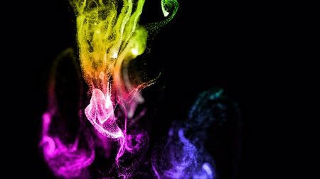 dynamic abstract : glow particles as advection ink effect, dissolve in water. multi-colored ver. 15