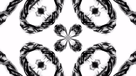 ornamento : 4k loop animation with black and white ribbons are twisting and form complex structures as kaleidoscopic effect. 2 Stock Footage