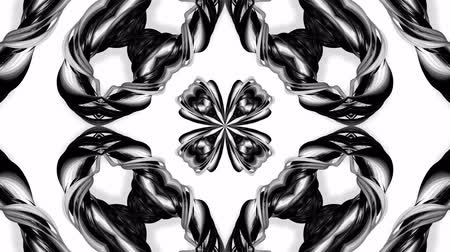 gestreept : 4k loop animation with black and white ribbons are twisting and form complex structures as kaleidoscopic effect. 6