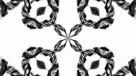 hallucination : 4k loop animation with black and white ribbons are twisting and form complex structures as kaleidoscopic effect. 9 Stock Footage