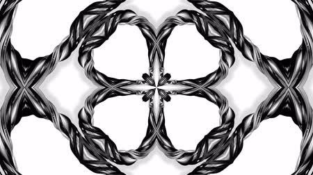 arabesk : 4k loop animation with black and white ribbons are twisting and form complex structures as kaleidoscopic effect. 20 Stockvideo