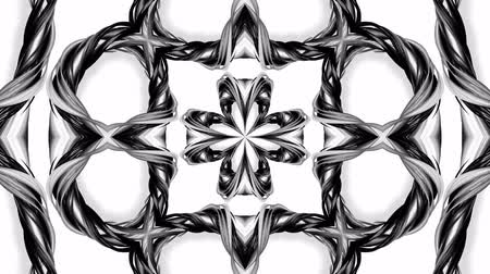 ornamento : 4k loop animation with black and white ribbons are twisting and form complex structures as kaleidoscopic effect. 21