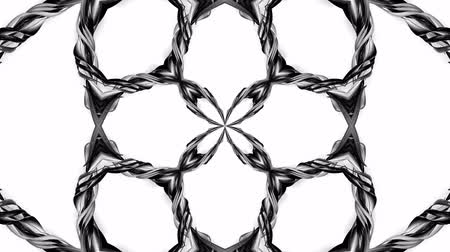 sheen : 4k loop animation with black and white ribbons are twisting and form complex structures as kaleidoscopic effect. 24