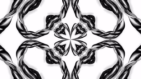 arabesk : 4k loop animation with black and white ribbons are twisting and form complex structures as kaleidoscopic effect. 28