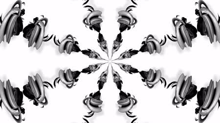 ornamentos : 4k loop animation with black and white ribbons are twisting and form complex structures as kaleidoscopic effect. 30 Vídeos