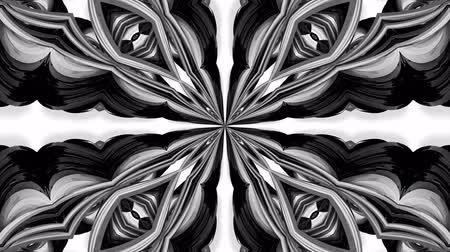 contínuo : 4k loop animation with black and white ribbons are twisting and form complex structures as kaleidoscopic effect. 31