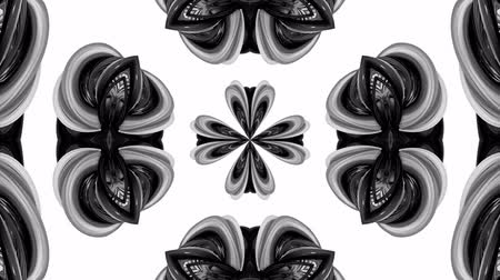 harmonia : 4k loop animation with black and white ribbons are twisting and form complex structures as kaleidoscopic effect. 37