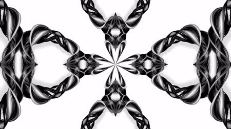 ornamento : 4k loop animation with black and white ribbons are twisting and form complex structures as kaleidoscopic effect. 42