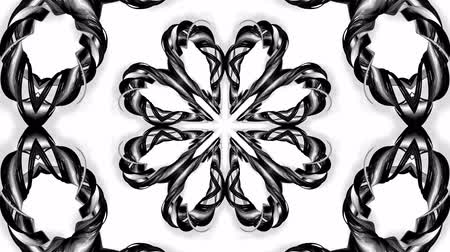 round ornament : 4k loop animation with black and white ribbons are twisting and form complex structures as kaleidoscopic effect. 48 Stock Footage