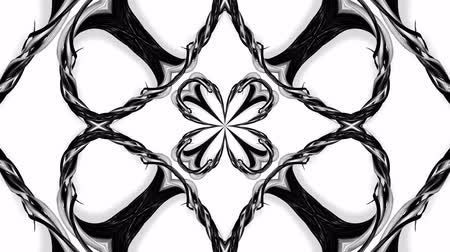 cinta de regalo : 4k loop animation with black and white ribbons are twisting and form complex structures as kaleidoscopic effect. 53 Archivo de Video