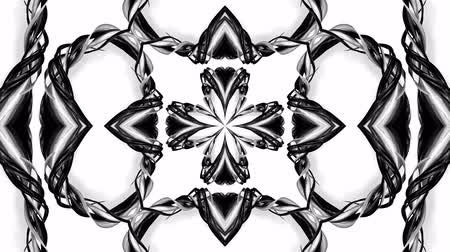 シンメトリック : 4k loop animation with black and white ribbons are twisting and form complex structures as kaleidoscopic effect. 54