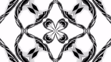 cinta de regalo : 4k loop animation with black and white ribbons are twisting and form complex structures as kaleidoscopic effect. 63