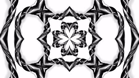 arabeska : 4k loop animation with black and white ribbons are twisting and form complex structures as kaleidoscopic effect. 69