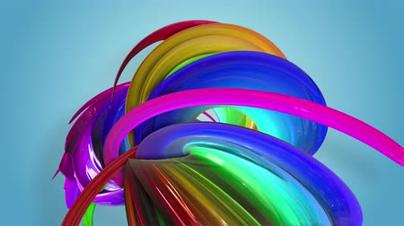 luma matte : Abstract seamless background with multicolored ribbons. Rainbow stripes are moving in a circle and twisting. 12 Stock Footage