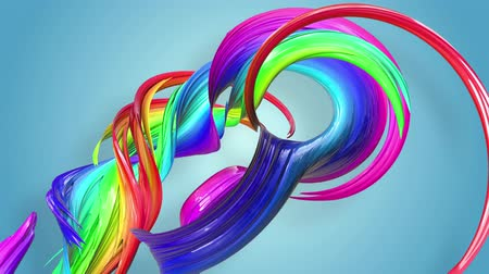 kavisli : Abstract seamless background with multicolored ribbons. Rainbow stripes are moving in a circle and twisting. 78
