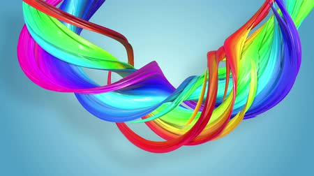 luma matte : Abstract seamless background with multicolored ribbons. Rainbow stripes are moving in a circle and twisting. 86 Stock Footage