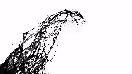 luma matte : 4k black splash like petroleum moves past the camera in slow motion. 3d animation of liquid like oil with luma matte as alpha channel. To cut a splash use luma matte. Ver. 17