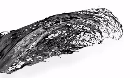 múlt : 4k black splash like petroleum moves past the camera in slow motion. 3d animation of liquid like oil with luma matte as alpha channel. To cut a splash use luma matte. Ver. 22