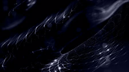 фрактальный : glow particles form sci-fi cosmic background. looped 3d animation. Blue curved lines ver 2