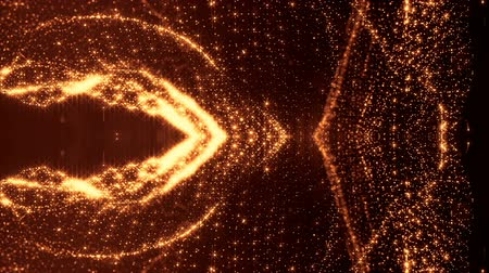 размеры : glow particles form sci-fi cosmic background. looped 3d animation. Golden red symmetrical structures ver 22