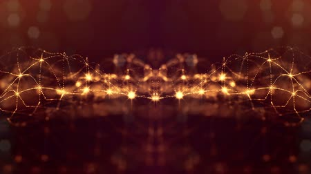 složitý : glow particles form sci-fi cosmic background. looped 3d animation. Golden red symmetrical structures ver 34