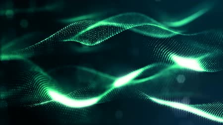 digital art : glow particles form sci-fi cosmic background. looped 3d animation. Green ver 3