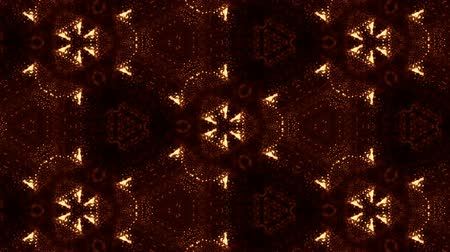 tvořit : Glow particles form ornate pattern like mandala. Abstract seamless animation as science fiction pattern for HUD screen element. Top of view. Complex structure as background. Golden red ver 13