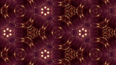 hallucination : Glow particles form ornate pattern like mandala. Abstract seamless animation as science fiction pattern for HUD screen element. Top of view. Complex structure as background. Golden red ver 53