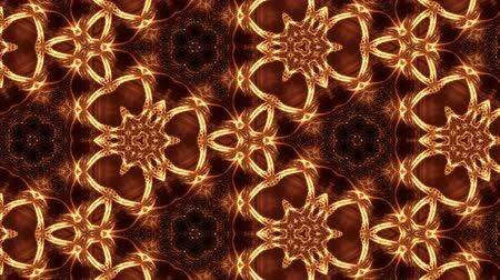 симметричный : Glow particles form ornate pattern like mandala. Abstract seamless animation as science fiction pattern for HUD screen element. Top of view. Complex structure as background. Golden red ver 56