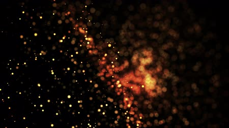 profundidade de campo rasa : gold particles in liquid float and glisten. Background with glittering golden particles depth of field and bokeh. Luma matte to cut out glowing particles for holiday presentations. 4k 3d animation. 15 Stock Footage