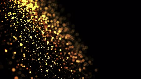 abundante : gold particles in liquid float and glisten. Background with glittering golden particles depth of field and bokeh. Luma matte to cut out glowing particles for holiday presentations. 4k 3d animation. 16