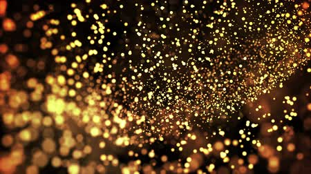 prim : gold particles in liquid float and glisten. Background with glittering golden particles depth of field and bokeh. Luma matte to cut out glowing particles for holiday presentations. 4k 3d animation. 46