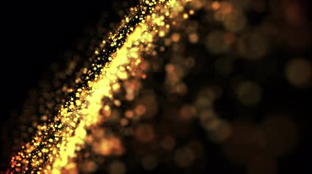 solene : gold particles in liquid float and glisten. Background with glittering golden particles depth of field and bokeh. Luma matte to cut out glowing particles for holiday presentations. 4k 3d animation. 55 Stock Footage