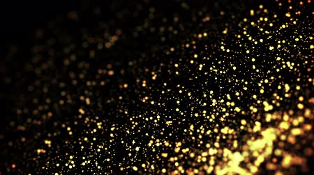 desfocado : gold particles in liquid float and glisten. Background with glittering golden particles depth of field and bokeh. Luma matte to cut out glowing particles for holiday presentations. 4k 3d animation. 58