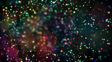 малая глубина резкости : multicolored particles in liquid float and glisten. 4k 3d advection background with glittering particles, depth of field and bokeh isolated on black. Luma matte to cut out particles. 11