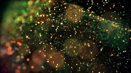 flutuador : multicolored particles in liquid float and glisten. 4k 3d advection background with glittering particles, depth of field and bokeh isolated on black. Luma matte to cut out particles. 13