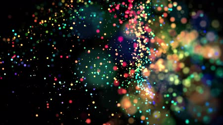 малая глубина резкости : multicolored particles in liquid float and glisten. 4k 3d advection background with glittering particles, depth of field and bokeh isolated on black. Luma matte to cut out particles. 61