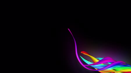 hoşgörü : 3d animation stream of colored ribbons fly on black background with neon light. Rainbow gradient on the flow of stripes. Luma matte is included as alpha channel. 4k motion graphics with copy space. 1 Stok Video