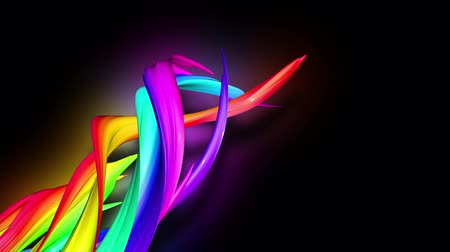 hoşgörü : 3d animation stream of colored ribbons fly on black background with neon light. Rainbow gradient on the flow of stripes. Luma matte is included as alpha channel. 4k motion graphics with copy space. 51