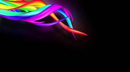 gibi : 3d animation stream of colored ribbons fly on black background with neon light. Rainbow gradient on the flow of stripes. Luma matte is included as alpha channel. 4k motion graphics with copy space. 54