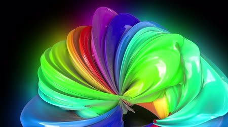 bumps : Abstract colorful creative background with stream of mixed oil paints that form a ribbon of rainbow colors. Paint flow moves in a circle. looped 3d animation in 4k with luma matte as alpha channel. 9 Stock Footage