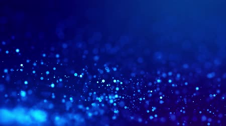 frekans : Magic blue glowing particles flow in viscous liquid and bright glisten. Science fiction. 4k 3d sci-fi background with glittering particles, depth of field and bokeh. Luma matte as alpha channel. 9