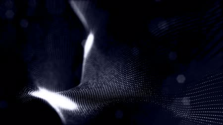 dimensão : sci-fi blue background of luminous particles that form curves, surfaces, complex structures, time-varying waves with depth of field and bokeh light effects. looped animation modern motion graphics. 1 Vídeos