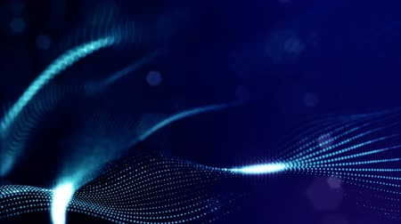bg : sci-fi blue background of luminous particles that form curves, surfaces, complex structures, time-varying waves with depth of field and bokeh light effects. looped animation modern motion graphics. 7