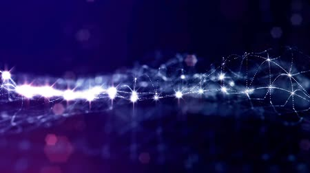 размеры : sci-fi blue background of luminous particles that form curves, surfaces, complex structures, time-varying waves with depth of field and bokeh light effects. looped animation modern motion graphics. 11