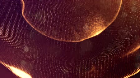 éteri : sci-fi gold background of luminous particles that form curves, surfaces, complex structures, time-varying waves with depth of field and bokeh light effects. looped animation modern motion graphics. 3 Stock mozgókép