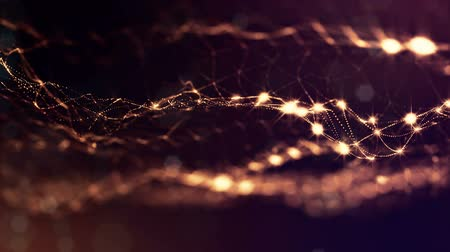 glare : sci-fi gold background of luminous particles that form curves, surfaces, complex structures, time-varying waves with depth of field and bokeh light effects. looped animation modern motion graphics. 7