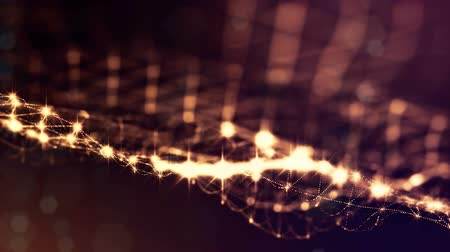 ethereal : sci-fi gold background of luminous particles that form curves, surfaces, complex structures, time-varying waves with depth of field and bokeh light effects. looped animation modern motion graphics. 8