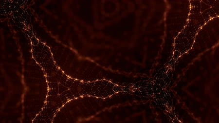 deriva : sci-fi gold background of luminous particles that form curves, surfaces, complex structures, time-varying waves with depth of field and bokeh light effects. looped animation modern motion graphics. 50