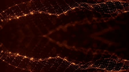 oscilante : sci-fi gold background of luminous particles that form curves, surfaces, complex structures, time-varying waves with depth of field and bokeh light effects. looped animation modern motion graphics. 68